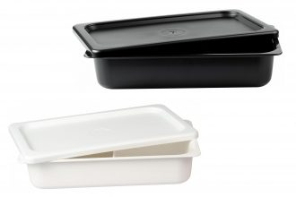 Depp Dish Lids and 2 Compartment Dishes in Black and White