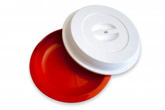 Red Assisted Living Plate with White Cover