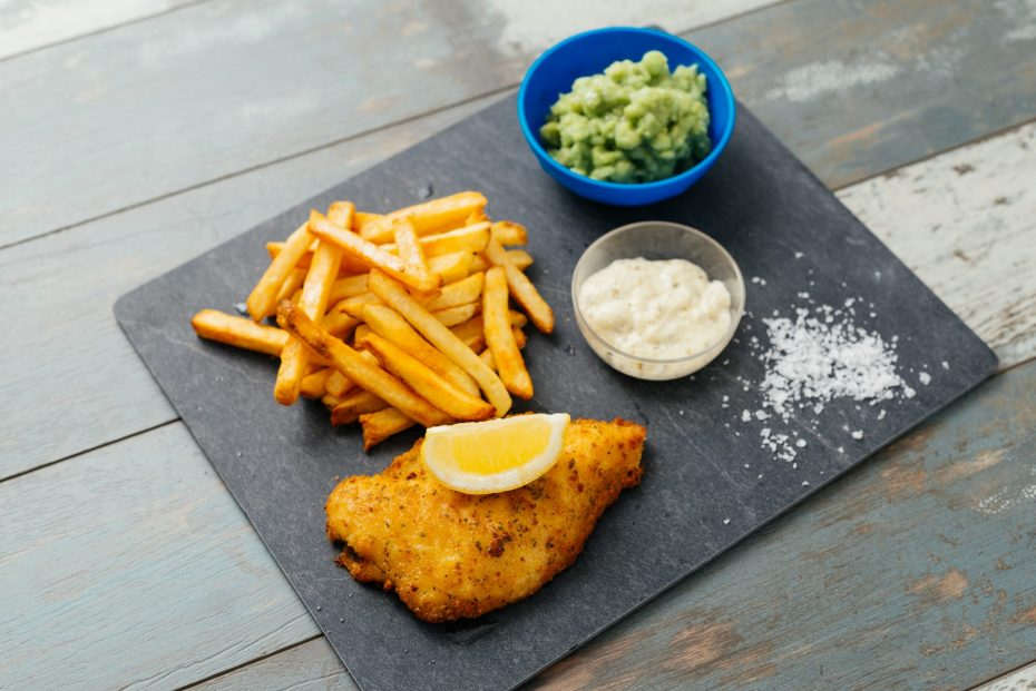 Fish and Chips with Tartare Sauce in Frosted Dip Bowl