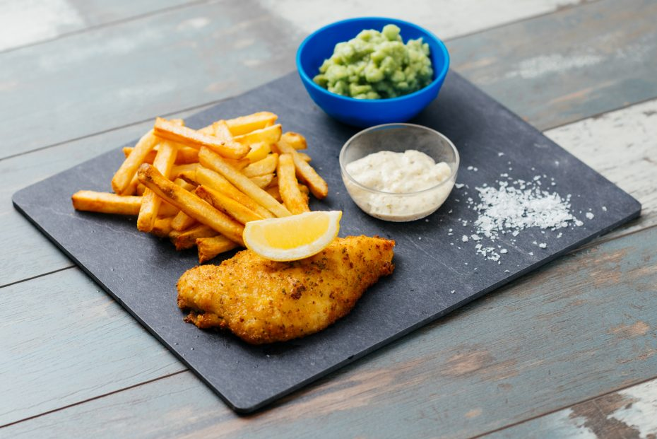 Fish and Chips on a Slate S-Plank
