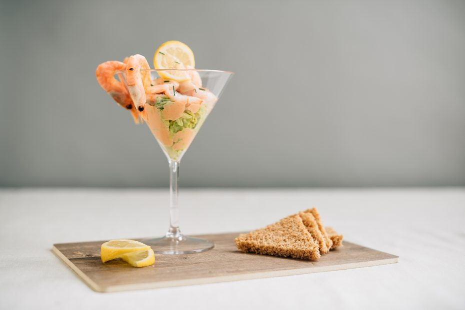 Prawn Cocktail in a Martini Glass on Oak S-Plank