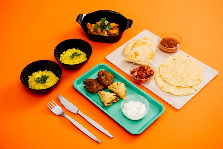 Indian Takeaway with Dips in Small Frosted Bowls