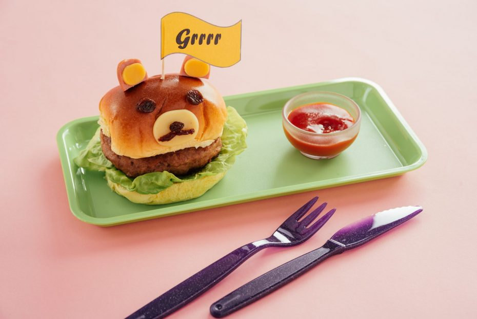 Children's Burger with Ketchup in Small Dip Bowl
