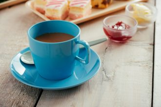 Blue Tea Cup with Saucer
