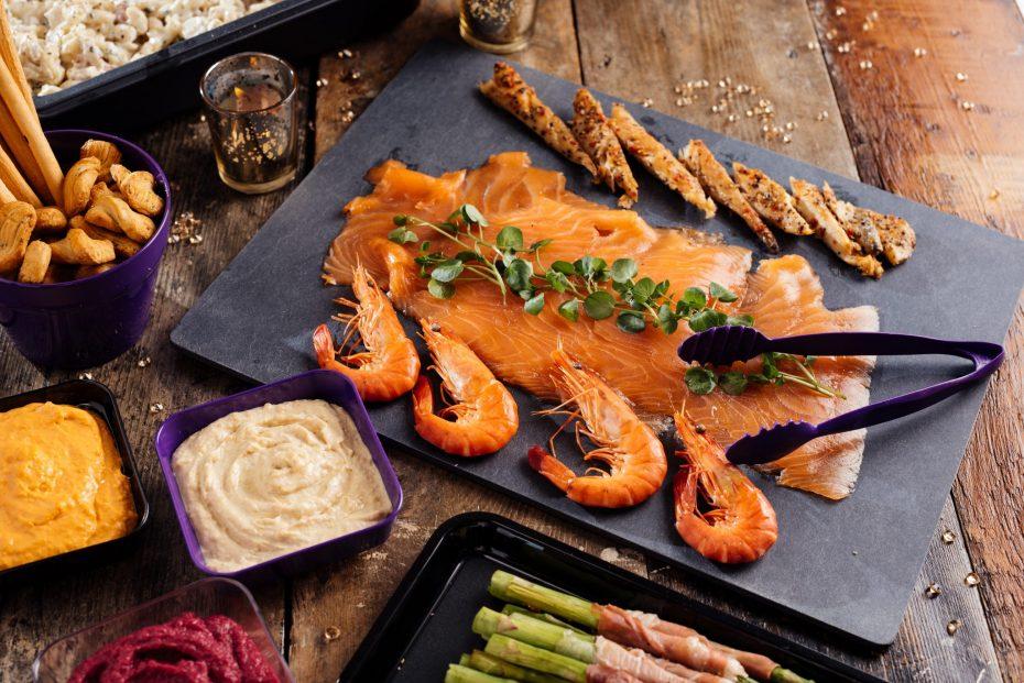 Smoked Salmon on a Slate S-Plank