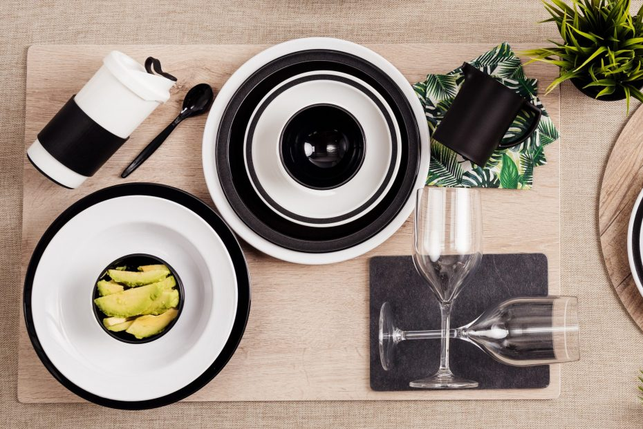 Black and White Tableware on an Oak S-Plank