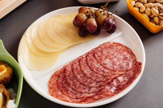 White 2 Compartment Plate with Salami and Cheese