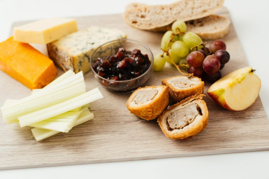Cheese Board with Chutney in Frosted Dip Bowl