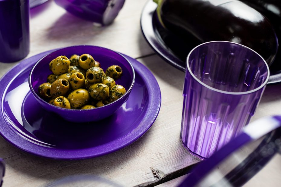 Purple Translucent Copolyester Tumbler with Purple Bowl of Olives