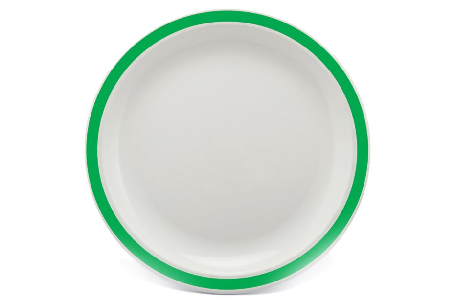 Large Duo Plate with Emerald Green Rim