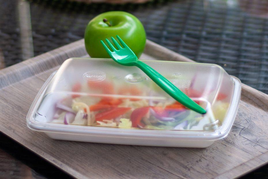 Salad in rectangular bowl
