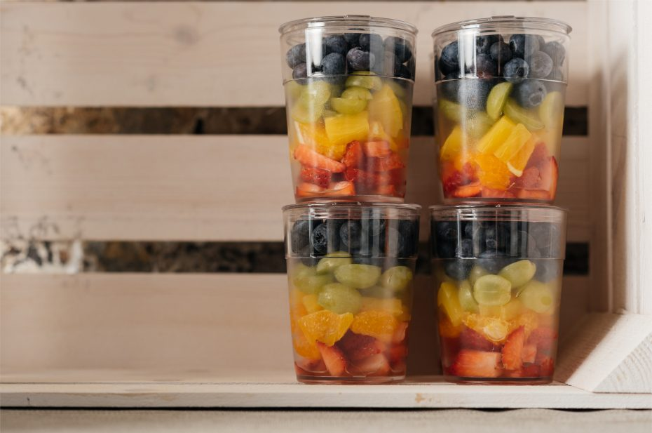 Fruit Salad in a Frosted Tumbler with Lid