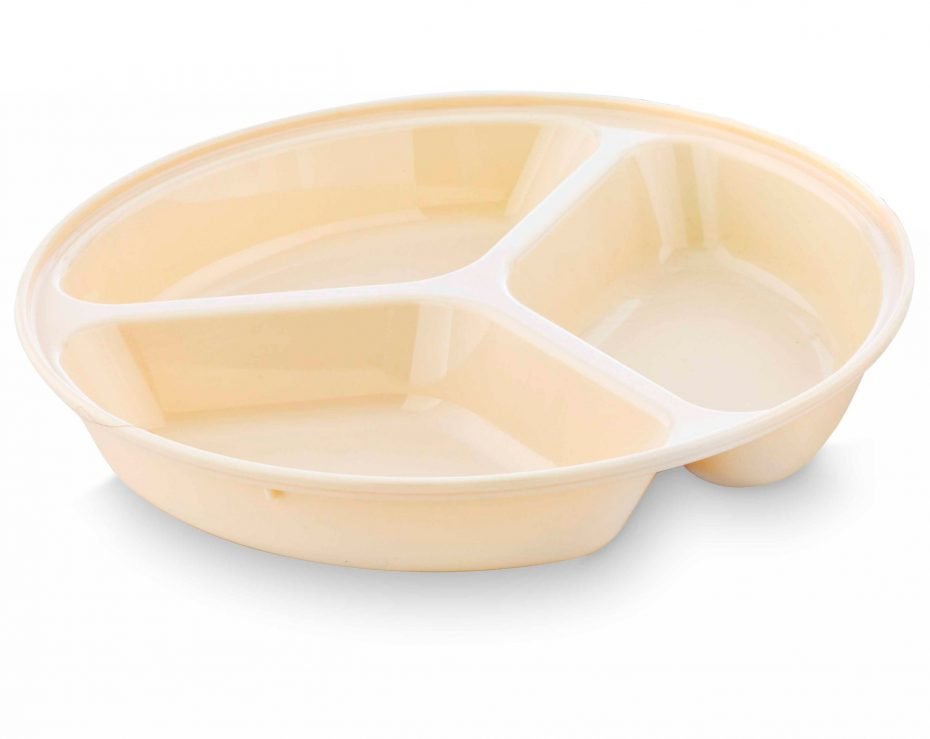 3 Compartment Deep Plate in Beige