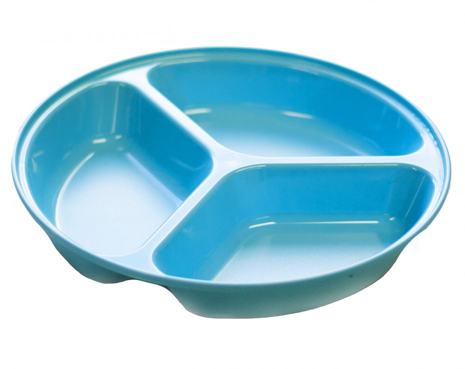 3 Compartment Deep Plate in Blue