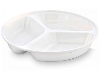3 Compartment Deep Plate in White