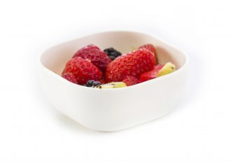 Small White Square Bowl with Fruit