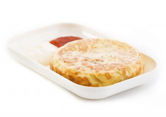 Small White Rectangular Dish with a Spanish Omelette