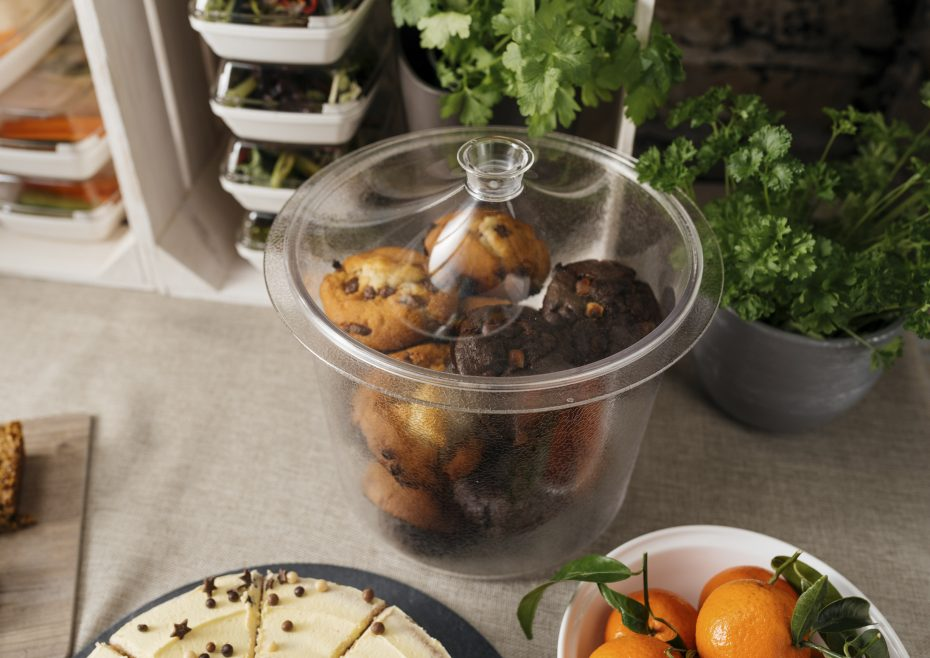 Large Serving Container with Muffins