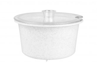 White Speckle Soup Bowl with Lid