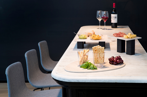 Tapas and Wine Display on S-Planks and S-Cubes