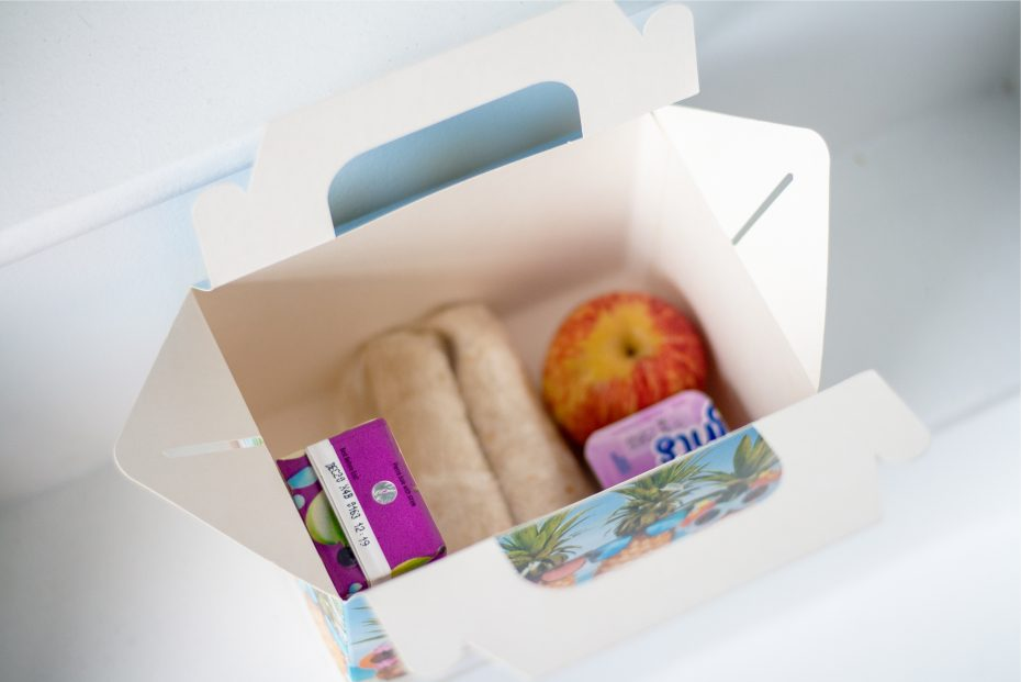 Cardboard Lunch Box with kids meal