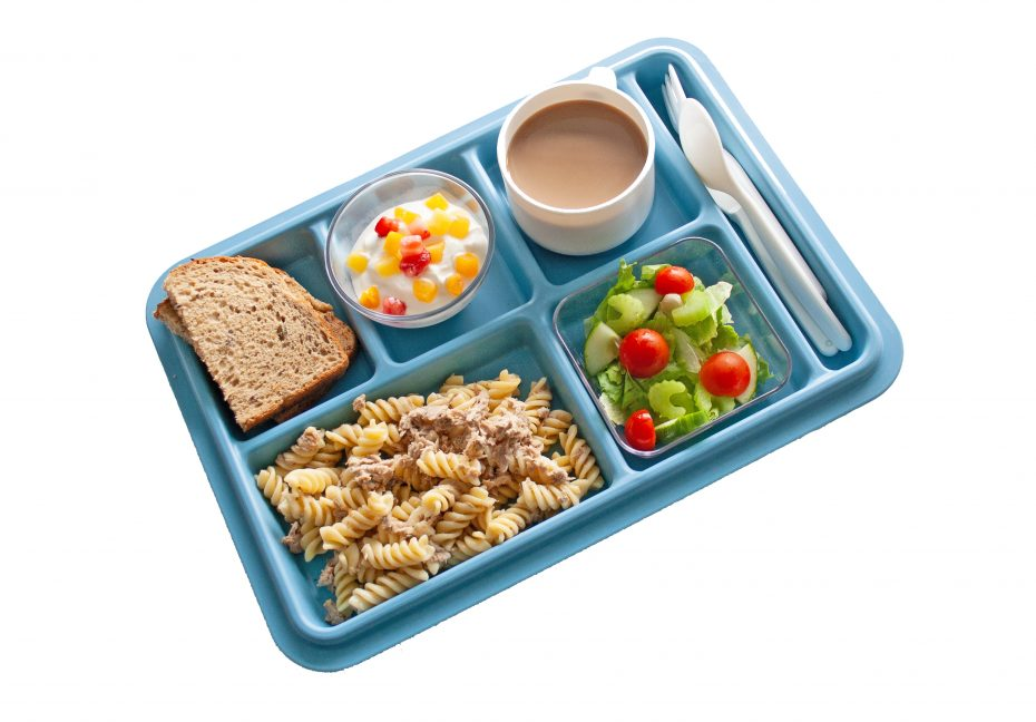 Steel Blue 6 Compartment Meal Tray