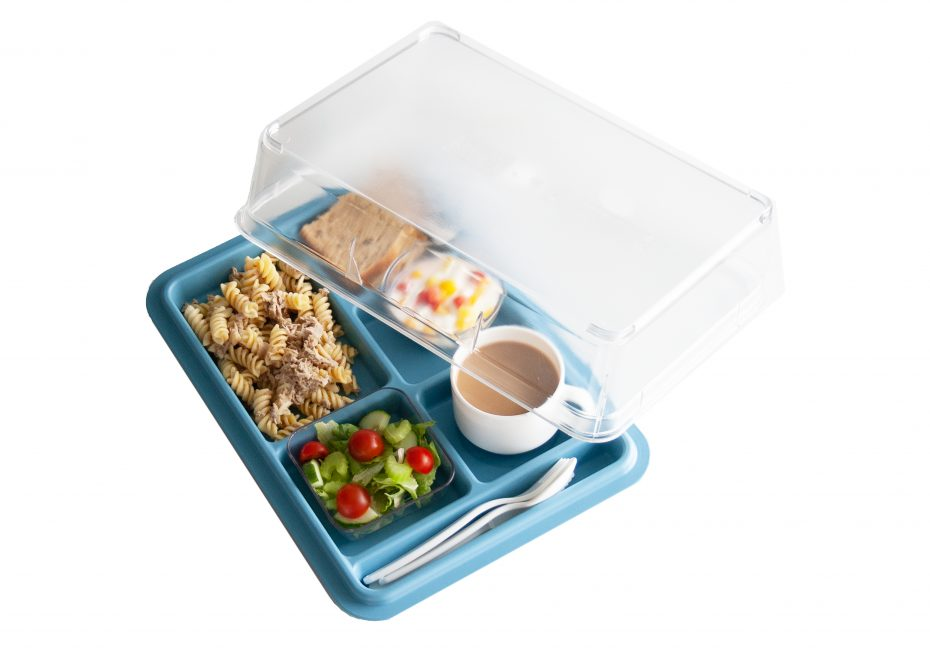 6 Compartment Meal Tray in Steel Blue with Cover