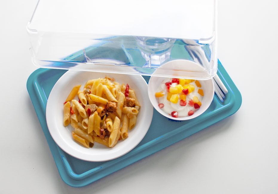3 Compartment Meal Tray in Steel Blue with Lid