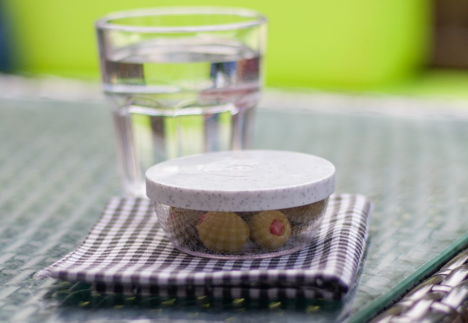 Frosted Bowl with Olives and Granite Lid