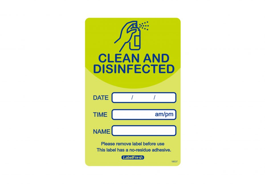 Clean & Disinfected Green Labels