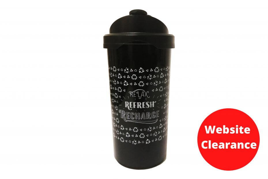 Black Relax Refresh Recharge Coffee Cup